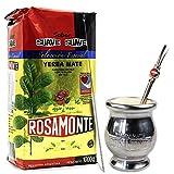 Yerba Mate Rosamonte Suave Special Selection 1 kg Edelstahl Mate Tee Set: Yerba Matebecher - Kalebasse | Yerba Mate Tee Strohhalm - Bombilla | Reinigungsbürste enthalten