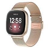 WATORY Armband kompatibel mit Fitbit Versa 3 / Fitbit Sense, Mesh Gewebte Edelstahl Armband Metall Uhrenarmband Business Ersatzband für Fitbit Versa 3/ Fitbit Sense, Roség
