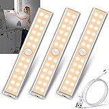 24 LED Schrankbeleuchtung Bewegungsmelder Batterie - 4 Modi Bewegungssensor Schranklicht Unterbauleuchte Küche Nachtlicht USB Aufladbar Akku Lichtleiste Ohne Kabel LED Sensor Licht Innen Ohne Strom