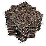 WOLTU WPC Terrassenfliesen Holzoptik Terrassendielen Fliese in Bodenbelag mit klicksystem, für Terrasse und Balkon 30x30 cm im Set Braun (11 Stück / 1 m²)