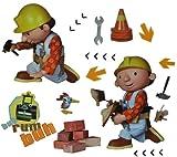 alles-meine.de GmbH 15 TLG. Set Wandtattoo / Fensterbild / Sticker groß - Bob der Baumeister - Wandsticker selbstklebend Rollo Walze Dampfw
