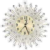 Rosenice 3D Wanduhr Diamanten Dekorative Uhr Wanduhr Wohnzimmer Dekor leise Quarzuhren Moderne puristische Uhren (Gold), metall, goldfarben, Diamonds Sty