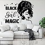 75X57Cm Afro Girl Magic Wandkunst Aufkleber Schöne Mädchen Beauty Decor Afrikanische Frauen Aufkleber Gesegnete Zimmer Geschenke Vinyl Aufkleb