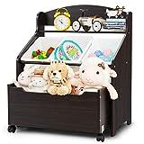 RELAX4LIFE Kinderregal auf Rollen, Spielzeugschrank mit 3 bunten abnehmbaren Boxen, Spielzeugregal mit offener Schublade, Spielzeug Aufbewahrung für Kinderzimmer & Wohnzimmer & Kindergarten (Braun)