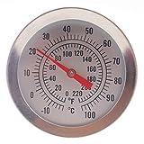 Hausbrau-Thermometer mit 52-mm-Zifferblatt und 300 mm Sondenlänge mit Befestigungsclip, Brauausrüstung