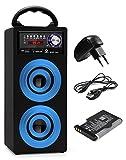 Beatfoxx Beachside BS-20BTB portabler Bluetooth-Lautsprecher tragbare Akku-Lautsprecherbox Set inkl. Ersatzakku und Netzteil (USB/SD-Anschlüsse, UKW-Radio, AUX, Tragegriff, Fernbedienung) blau