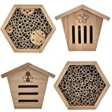 kamelshopping 4er Set Insektenhotel aus Naturholz gefertigt (Set aus Bienenhotels, Schmetterlingshotel, Marienkäferhotel), inkl. Aufhängevorrichtung an der Rückseite