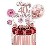 MMTX 40 Tortendeko Rosegold Geburstagstorte Deko Happy Birthday Cake Topper Kuchen Aufsätze mit Papierfächer Konfetti Luftballons für Geburtstagstorte Dekorationen