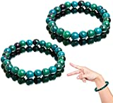 2Pcs Diabetes Relief Original Chrysokoll Armband, handgefertigte 8mm natürliche Chrysokoll Kristall Energie Perlen Armbänder, Naturstein elastische 8mm Perlen Armb