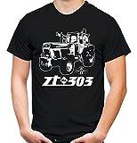 Traktor ZT Männer und Herren T-Shirt   303 Oldtimer DDR Landwirt Bauer   M2 (XXXL, Schwarz)