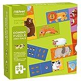 boppi Mideer Dominoes Puzzles Spiel mit 24 großen extra dicken rechteckigen doppelseitigen Domino-Fliesenstücken Nummer und Bild Match Up Deck für Kinder ab 3 Jahren - Zoo Pals