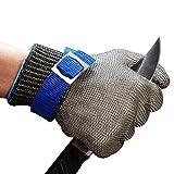 ConPush Schnittschutz Handschuhe Edelstahl-Metal Mesh Metzgerhandschuh mit,Schutzgrad 5(M)