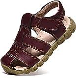 Unisex-Kinder Sandalen Mädchen Jungen Kindersandale Geschlossene Leder Innensohle Sandale Sommer Sandaletten Lauflernschuhe Schuhe