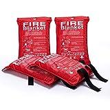 Feuerlöschdecke – 4 Packungen Notfalldecken – Flammenhemmende Decken – feuerfest und feuerbeständig – Sicherheits-Feuerdecken für Menschen, Unterschlupf, Haus, Küche, Auto und Kamin