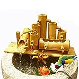 WYDM Bambusbrunnen Dekor, Garten Wasserspiel, mit Wasserpumpe, Wasserrad und 3 Lotus, im Freien fließende Zen Gartendekoration,40cm