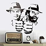 hzcl Wandtattoo,Bud Spencer and Terence Hill Wall Sticker Ridiculously Funny Character Portrait Vinyl Decal Classical Movie Figure Murals 60X60CM