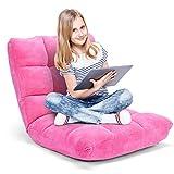 GOPLUS Bodenstuhl, Floor Chair Farbewahl, Meditationsstuhl Faltbar, Bodensofa mit Einstellbarer Rückenlehne,18 Faule Sofa (Rosa)