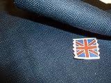 Fischgräten-Wollstoff in Marineblau, gewebt in Großbritannien.