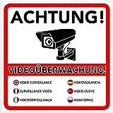 2 Stück Achtung Videoüberwachung Premium Aufkleber – Schild – Sticker  Hinweisschild – Warnschild für mit Kamera videoüberwachtes Objekt – Haus – Gelände   Kratz- wetterfest 10 x 10 cm