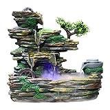 LOMJK Küche Haushalt Wohnen Zimmerbrunnen Steingarten Wasserfall Tabletop Brunnen Indoor Glück Feng Shui Rad Wohnzimmer Büro Desktop Dekoration Geschenk mit LED-Licht Rolling Ball (Größe : Small)