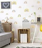 52 Stück Bunte Regenbogen Wandsticker | DIY Cartoons Kinder Wandsticker | Wandtattoo für Mädchen Kinderzimmer | Aquarell Wandaufkleber Wanddeko für Schlafzimmer Klassenzimmer Babyzimmer Sp