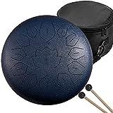 QULONG Stahl Handtrommel, 13 Anmerkungen Stahlzunge Percussion Drum Harmonic Handbecher Trommel 12 Zoll Beutel Meditation Entlastet Stress Beruf Werkzeug,Blau