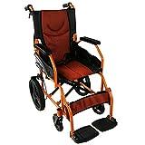 Mobiclinic, Faltrollstuhl, Pirámide, Europäische Marke, orthopädisch, Sitzfläche 41 cm, Rollstuhl für Ältere und behinderte Menschen,Transit-Rollstuhl, ultraleicht, feste Armlehnen, Schwarz-Orange
