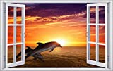 DesFoli Delfin Sonnenaufgang 3D Look Wandtattoo 70 x 115 cm Wanddurchbruch Wandbild Sticker Aufkleber F145