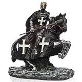mtb more energy Ritter Figur ''Riding Dark Templar'' - Kreuzritter auf Pferd mit Speer - Höhe ca 14 cm - Fantasy Mittelalter Spielfigur Dekoration