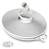 30m LAN Kabel Weiß Flach, CAT 6 30 meter Netzwerkkabel Hochgeschwindigkeits 10000Mbit/s Gigabit Ethernet-Kabel Cat.5e Cat.6 Cat.7 RJ45 Internet Patchkabel für PC PS5 Xbox Switch Modem