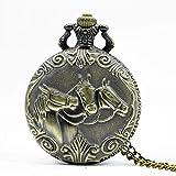 Water cup Vintage Taschenuhr Taschenuhr, Zodiac 12 Bronze Zwei Pferde Laufmuster Hohlquarz Halskette Anhänger Damen Herren Geschenke