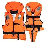HonuNautic Feststoff Rettungsweste für Kinder und Erwachsene   Feststoffweste   100 N, CE ISO 12402-4   Größe 2   für Kinder von 10 bis 20 kg   Orange