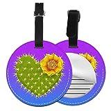 Kofferanhänger PU Leder Gelbe Wüstenblume des Riesenherzens, Gepäckanhänger ID Etikett Mit Adressschild Namenschild für Reisetasche Koffer
