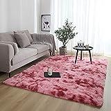 ZQWE Teppiche Wohnzimmer, Hochflor Teppich Wohnzimmerteppich, Hochflor Langflor Teppiche Modern,flauschig Shaggy Schlafzimmer Bettvorleger Pflegeleicht (Dark red,60 x 200cm)