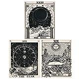 Alishomtll Tarot Wandbehang, Wandteppich Set, Sonne Mond und Stern Wandtuch mit Nägel, Schwarz und Weiss Baumwollleinen, 40 x 50 cm