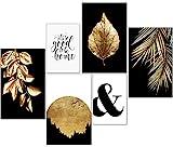 artpin® Moderne Poster Set - Bilder Wohnzimmer Deko Schlafzimmer - Goldene Blätter Palmblatt 4X A3   2X A4 - W7