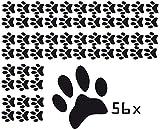 DD Dotzler Design 56 Stück Tierpfoten Katzenpfoten Wandtattoo Aufkleber Autoaufkleber Tatze 35 x 37 mm (35 x 37 mm, schwarz)