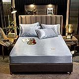 CYYyang Unterbett Soft-Matratzen-Topper, Matratzenschutz Boxspring-Betten geeignet Bettlaken rein farbblau grau_1.2m