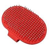 NINIWA Haustier-Shampoo-Bürste, beruhigende Massage-Borsten, Striegel, praktischer Kamm für Hunde und Katzen, rot, 1 Stück