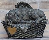 Hunde Urne grau als Hunde-Engelfigur und Gravurplatte, T