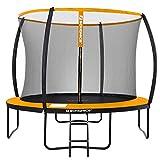 SONGMICS Trampolin Ø 366 cm, rundes Gartentrampolin mit Sicherheitsnetz, mit Leiter und gepolsterten Stangen, Sicherheitsabdeckung, TÜV Rheinland getestet, sicher, schwarz-orange STR122O01