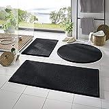 Taracarpet Badematte Fiona rutschfest waschbar Badezimmerteppich sehr weich und als Set kombinierbar Uni schwarz 080 cm rund