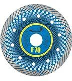 PRODIAMANT Profi Premium Diamant-Trennscheibe Feinsteinzeug F70 extra dünn 125 mm x 22,2 mm Diamanttrennscheibe für Trockenschnitt bis zu 3cm Terassenp