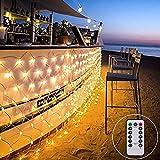 LED Lichternetz 3x2m Außen Lichterkette Netz mit Fernbedienung & Timer 8 Modi Mesh Lichtervorhang für Weihnachten Party dekor(Warmweiß)