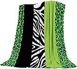 BONRI Leopard Luxuriöse Flanell Werfen Decke für Schlafzimmer Wohnzimmer Sofa-Couch, Stuhl, Leichte, Warme Fleece-Decken für Alle Jahreszeiten, Grün, Schwarz, Weiß, Streifen,50x60 Zoll
