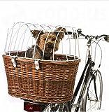 Fahrradkorb mit Schutzgitter, praktisch und bequem, sicherere Montage auf Gepäckträger, hergestellt in Deutschland, max. Gewicht des Hundes: 10 kg