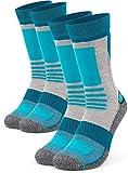 Occulto 2 Paar Damen Wandersocken   Trekking-Socken   Outdoorsocken   Funktionssocken mit gepolsterter Sohle in verschiedenen Farben und Größen (Türkis-Grau, 39-42)