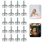 PERFETSELL 20 Sätze Spiegelschrauben 16mm Edelstahl Zierschrauben Dekorative Silber Spiegel Schrauben Polierte Spiegelnägel mit Unterlegscheiben für Spiegel Holz