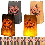 URATOT 24 Stück Jack-o'-Lantern Leuchttüten Halloween Kürbis Papier Leuchttüten Flammenbeständige Kerzentüten Papierlaternen Leuchttüten mit 2 Kürbismuster für Halloween Party Dekor