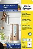 AVERY Zweckform LR4761-10 Recycling Ordnerrücken Etiketten (40 Rückenschilder, 61x192mm auf A4, 100% recyceltes Altpapier, bedruckbare, selbstklebende Ordneretiketten, fürs HomeOffice) 10 Blatt, weiß